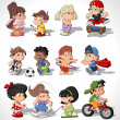 Cute happy cartoon kids — Stockvektor