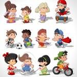 孩子们快乐可爱卡通 — 图库矢量图片