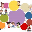 Cute happy cartoon kids playing — Image vectorielle