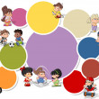 Stockvector : Cute happy cartoon kids playing