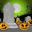 Royalty-Free Stock Vector Image: Halloween cemetery background with pumpkins