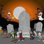 Halloween cemetery background — Stock Vector
