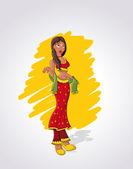Cartoon indian woman — Stock Vector