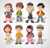 Enfants dessin animé — Vecteur