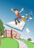 Cartoon boy flying on big book — Stock Vector
