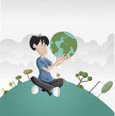 Boy holding earth globe — Stock Vector