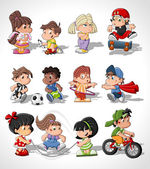 Cute happy cartoon kids — ストックベクタ