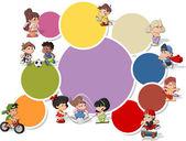 Niños de dibujos animados lindo feliz jugando — Vector de stock
