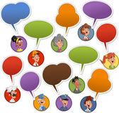 Faces with speech balloon icons — Stock Vector