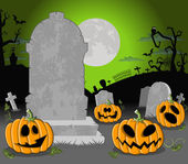 Halloween cemetery background with pumpkins — Stock Vector
