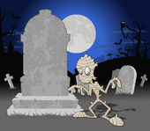 Halloween cemetery background with mummy — Stock Vector