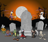 Halloween cemetery background — Stock Vector
