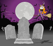 Halloween cemetery background with witch — Stock Vector