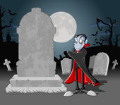 Halloween cemetery background with vampire — Stock Vector