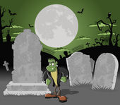 Halloween cemetery with frankenstein monster character — Stock Vector