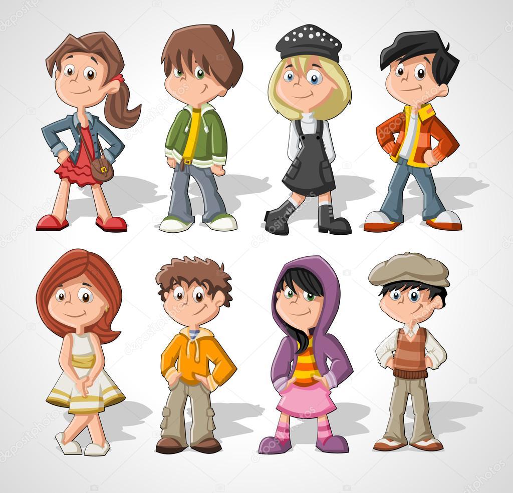 Bambini dei cartoni animati — vettoriali stock