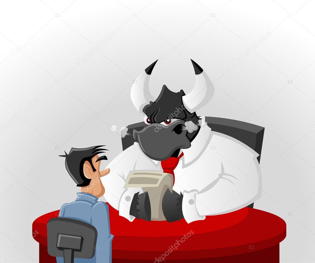 Uomo di cartone animato con il suo capo toro arrabbiato
