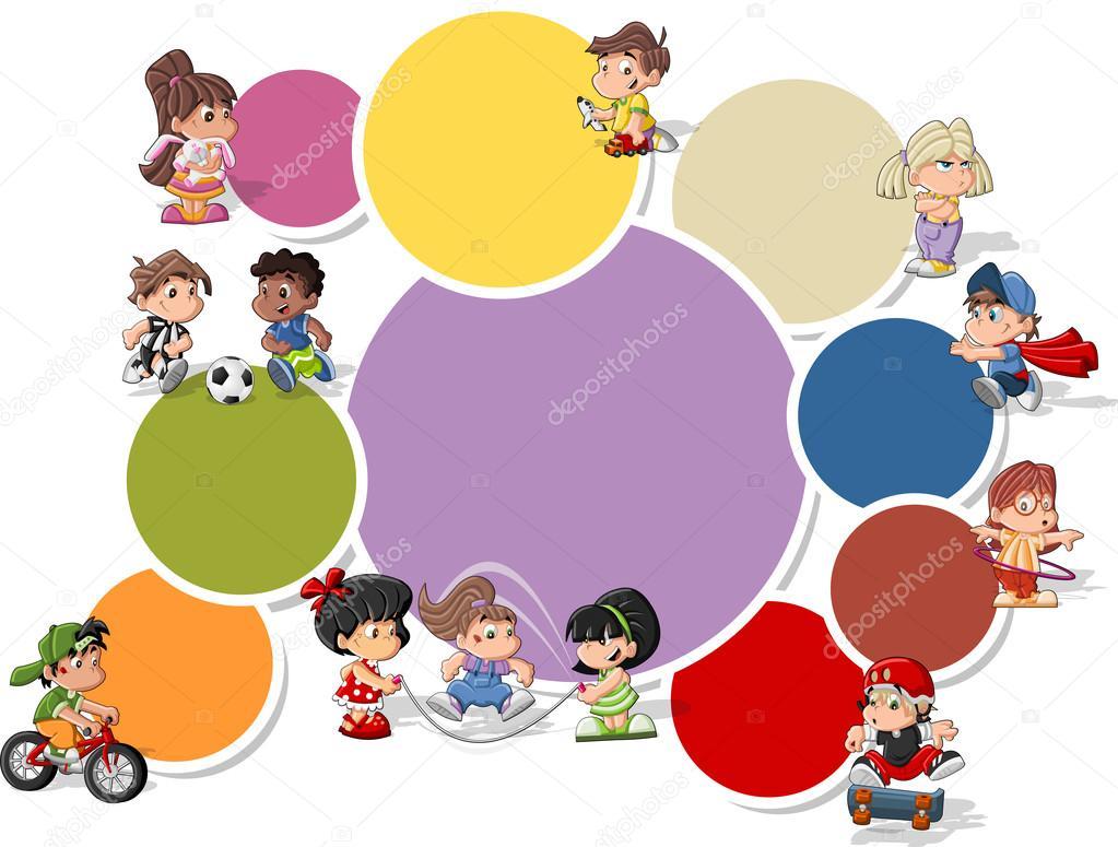 Dibujos Animados De Niños Felices Y Payaso En El Parque: Cute Happy Cartoon Kids Playing