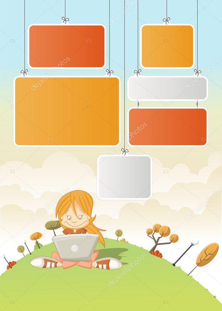Ragazza simpatico cartone animato con il computer