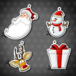 Santa Claus, reindeer, snowman, and christmas gift — Векторная иллюстрация