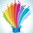 Colorful paint splashing out of a blue box. — Stock Vector