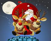 Weihnachtsmann auf schlitten — Stockvektor