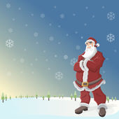 Jultomten i landskap med snö — Stockvektor