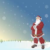 Santa claus en paisaje con nieve — Vector de stock