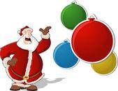 Santa claus con bolas de navidad — Vector de stock