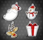 Jultomten, renar, snögubbe och julklapp — Stockvektor