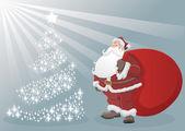 Papá noel y árbol de navidad — Vector de stock