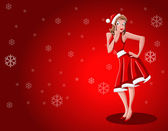 Girl dressed like Santa Claus — Stockvector