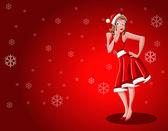 Noel baba gibi giyinmiş kız — Stok Vektör