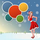 穿得像圣诞老人一样的女孩 — 图库矢量图片