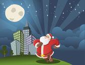 Santa claus caminando por la ciudad — Vector de stock