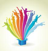 Pintura colorida em forma de espirrar fora de uma caixa azul — Vetorial Stock