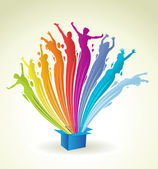 Pintura colorida en forma de salpicaduras de una caja azul — Vector de stock
