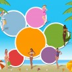 Beautiful cartoon girls on tropical beach — Stock Vector
