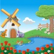 Lake and windmill — Stock Vector #13783271