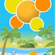 Tropical beach with blue ocean — Stock Vector