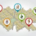 izometrik şehir haritası — Stok Vektör