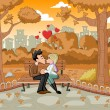 Young romantic couple passionately kissing — Imagen vectorial