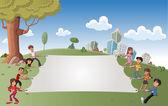 Kinderen in groen park met een groot wit bord — Stockvector