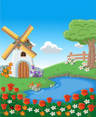 Lake and windmill — Stock Vector