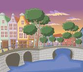Beautiful colorful buildings in Amsterdam — Stock Vector