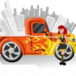 Girl and Orange Pickup — Stock Vector