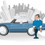 Man with Blue convertible car — Stock Vector