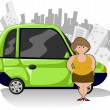Stock Vector: Chubby cartoon womwith green compact car