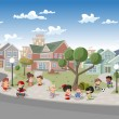 Stock Vector: Kids playing in suburb neighborhood