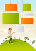 Cute cartoon girl on green park — Stock Vector